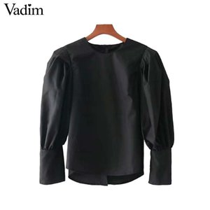 Vadim women black pleated shirts back buttons basic solid blouse office lady work wear  chic tops blusas LT2674