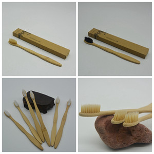 Cepillo de dientes de bambú del carbón de leña de bambú cepillo de dientes suave de nylon capitellum bambú Cepillos de dientes para viaje Hotel Baño Suministros GGA973 caliente