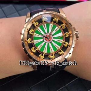 NOVA top Excalibur RDDBEX0398 Cavaleiro da Mesa Redonda I Relógio Automático dos homens de Ouro rosa pulseira de Couro preto 45mm Gents esporte relógios
