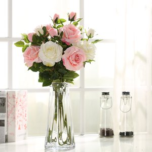 Fake Rose Flower Декоративные Реальные сенсорные Центры Одноместный для Украшения Цветы Вазы Организация в Свадебный Цветок Искусственный стол IHRT