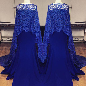 Eleagant Royal Blue Lace Vestidos de Noite Sereia Sem Alças Decote Trem de Varredura dubai abaya Árabe Partido Prom Vestidos Com Capa
