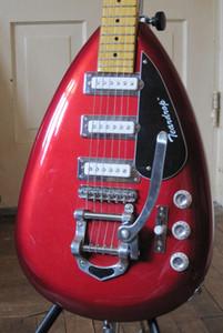 Custom Hutchins Brian Jones anni '60 PGW Teardrop Signature Metallic Red Semi SEMI Hollow Body Guitar Electric Guitar Big Bridge 3 Pickups