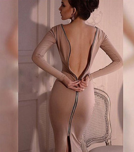 Freies Verschiffen 2018 Neue Mode Cocktailkleider Frauen Celeb Party Wear Zu Arbeiten Zurück Reißverschluss Baumwolle Tunika Mantel Bodycon Bleistift Kleid