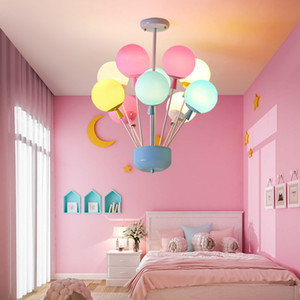 어린이 방 샹들리에 조명 따뜻한 로맨틱 침실 다이닝 룸 컬러 유리 샹들리에 현대 크리 에이 티브 휴게실 펜던트 조명