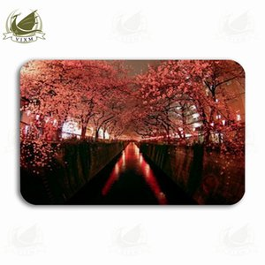 Vixm Cherry Blossoms On The Meguro River At Night In Tokyo Welcome Door Mat Rugs Flannel Anti-slip Entrance Indoor Kitchen Bath Carpet