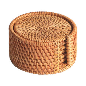 6 pçs / lote Criativo bebida Coasters set para acessórios de chá de kungfu rodada tableware Placemat Prato mat Rattan Weave copo mat pad