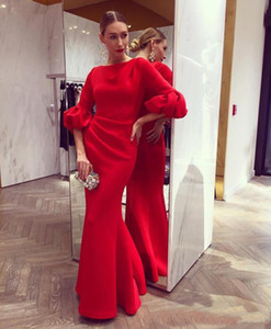 Festival Red Long Mermaid Abendkleider mit Halbarm Jewel Neck Prom Party Kleider Promi Roter Teppich Kleider