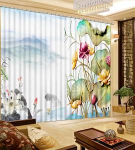 Blackout Custom Lotus sale de la cortina para la decoración de la ventana de la cortina de Blackout del baño