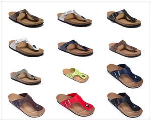 New Famous Brand Giseh Männer Cork flache Ferse Flip Flops Frauen echtes Leder-beiläufige Sandaletten mit Schnalle Mode-Sommer-Strand-Schuhe mit Kasten