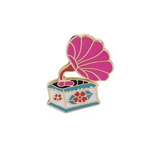 Karton Emaille Brosche Metall Pin Phonograph Gramophone Musik Abzeichen für Kleidung Taschen Rucksäcke Revers Pin Kleidung dekorieren