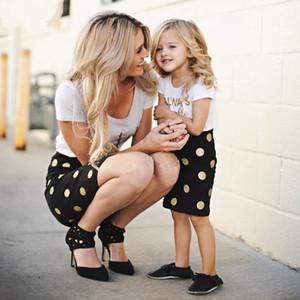 Summer Clothings set genitore-bambino 2018 Bambino a maniche corte Western genitore-bambino in cotone a due pezzi madre e bambino Outifits per bambini vestito