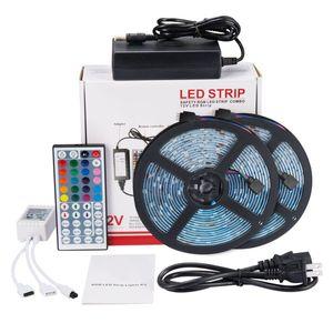 Led Şerit Işıklar Kiti SMD 5050 32.8 Ft (10M) 300leds RGB ile 44key IR Kontrolör ve TV Arka Aydınlatma Mutfak Dolabı için 12V5A Güç Kaynağı