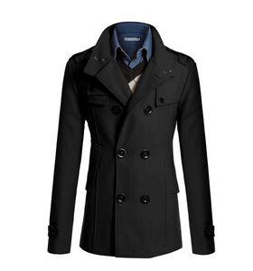 متوسطة طويلة خندق معطف الرجال معطف الشتاء سترة الرجال سترة واقية سميكة الصلبة الأسود خندق معطف الإنجليزية نمط زي J-M2