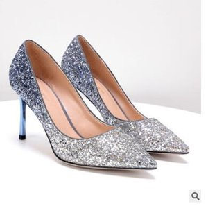 2018 new autumn gradient gold sexy nightclub high heel pointed stiletto shoes
