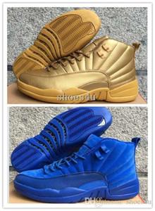 New 12 XII Premium Deep Royal Blue Golden Red Suede Men's Basketball Shoes Sneakers Women dan 12s shoe US 5.5-13
