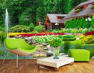 3D Mural Wallpaper Сад пейзаж Обои для стен Отель Офис KTV Декоративные Papel De Parede Кирпичные Обои