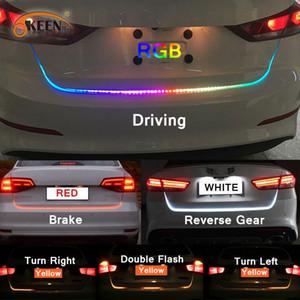 Янтарный сигнал поворота потока светодиодные полосы света багажника автомобиля багажник 12 В светодиодные магистральные полосы задний фонарь динамический стример плавающей полосы
