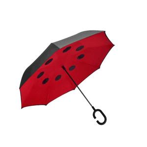 Euow 2017 Creativo Antivento Inverso Pieghevole Invertito Manico Lungo Ombrello Pioggia Grandi Ombrelli In Rovescia Per Auto