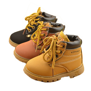 New 2019 Children Kids Baby Boys Winter Keep Warm Plus Velvet Matin Boots For Boys Girls Toddler Shoes Short Snow Boots Lace UP SnowBoots