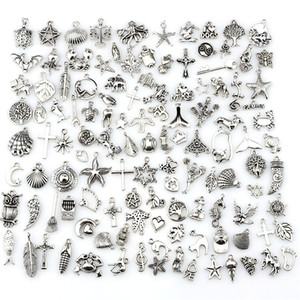 Hacer los encantos de la mezcla 120pcs Vintage Antique Silver Mini Life Alloy DIY DIY Jewelry Making