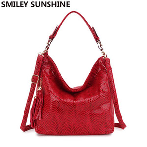 Smiley Sunshine Marque Serpentine En Cuir Femmes Sacs À Main Hobo Tote Bag Femme Tassel Big Women Sacs À Bandoulière Ladies Crossobdy Sac