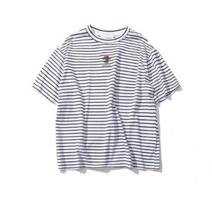 Rose Embroidery Striped Mens T-shirt Short Sleeve Summer Hi-street Oversized Hip Hop Tshirt Cotton Tee Shirts