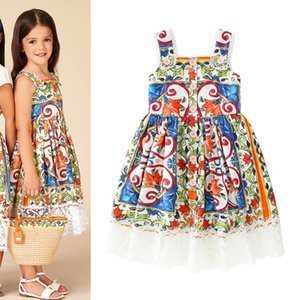 Nuove ragazze Florals Dress bambini Vintage fiori stampati pannello esterno della bretella del vestito da bambini 14063