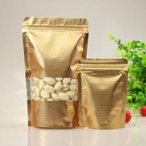 100pCS Ponte de pie de oro del papel de aluminio de bloqueo bolsa con cierre con ventana, metalizado de plástico bolsa de embalaje para el alimento del té de caramelo hornada de la galleta