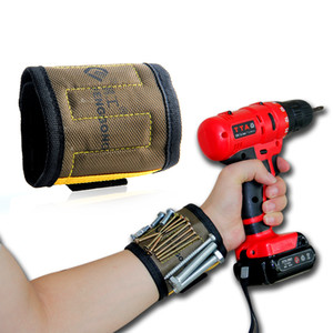 Toptan Manyetik Bileklik 5 adet Güçlü Mıknatıslar Ile 290mm Tuval Cep Aracı Elektrikçi Araçları Çanta Tutan Tutan Için Gadgets Araçları