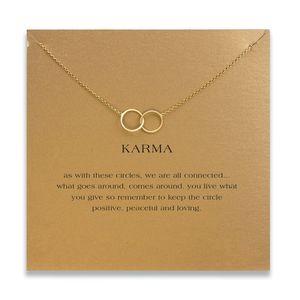 Collane a doppio cerchio girocollo con carta in oro argento croce collana pendente per le donne di moda gioielli karma