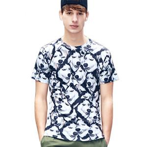 Собака печатных с коротким рукавом футболки мужчины смешно лето повседневная Tee Хаски футболка размер M - 2XL