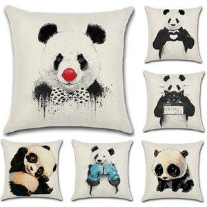 Lustige Tier Polyester Kissenbezug 45x45 cm Skizze Malerei Panda Dekokissen Cases für Sofa Home Dekorative