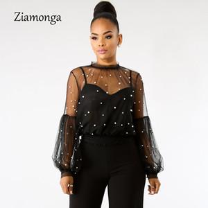 Ziamonga 2 Pièces Femme En Mousseline De Soie Perles Blouses Chemise Lanterne À Manches Longues Perlé Transparent Dentelle Perles Gaze Tops 2018 Nouveau