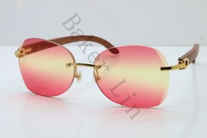 2020 New Rimless Gold Wood Sunglasses 3524012 Limited edition Carved Wood Trimming Sunglasses Unisex in Gold Pink Lens Thickness of 3.5