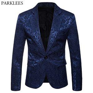 Fashion Navy Paisley Jacquard Blazer Uomo 2018 Brand New Wedding Party Button Button Single Jacket Mens Costume di scena di sera Homme