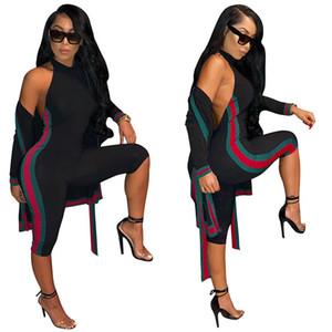 Сексуальная тонкий полоса печати из двух частей набор ночной клуб мода рукавов комбинезон Комбинезон + кардиган пальто с поясом досуг женщины брюки костюм