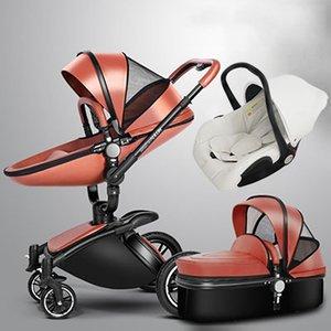 عربات الأطفال 3 في 1 عربة أطفال من الجلد AULON Europe baby car seat سلة ، جلد ، الإطار الذهبي ، هدايا