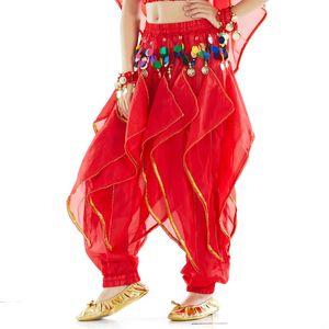어린이 쉬폰 회전 바지 벨리 댄스 인도 댄스 바지 전국 댄스 바지 어린이 댄스 바지