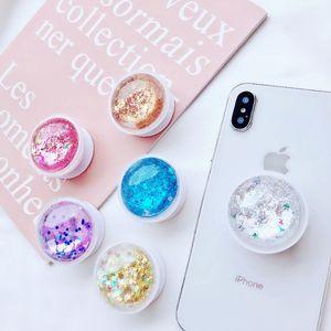 Recém-fantasia colorido glitter líquido tablets titular do telefone para iphone xs xr 7 8 plus xiaomi huawei samsung dremshell bling suporte de montagem suporte