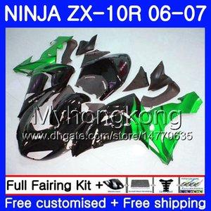 Corpo per Kawasaki ZX 10R ZX1000 C 06 07 carenatura 215HM.30 ZX 10 R ZX10R 06 07 ZX 1000CC ZX10R 2006 2007 calde fiamme verdi Carrozzeria Kit