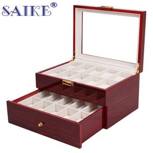 SAIKE 20 شبكات مشاهدة عرض مربع ورنيش الخشب MDF متعددة الوظائف ساعات صندوق حامل القضية لتكلفة مجوهرات ووتش التخزين