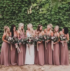 2019 New Bohomian Long Bridesmaid Dresses Cheap Sweetheart Chiffon Ruched A Line Wedding Party Gowns BM0155