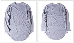 Mens Long T-shirts Manche T-shirts T-shirts Mode 6 Couleurs Irregular Cutton Tshirts Street Mens d'automne Crêpe Équine Cou Haute Marque Gaewb