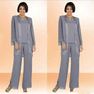 Classy Gray Mother Of Bride Pant Suits Jewel Neck Cheap Sequined Wedding Guest Dress With Long Sleeves Jacket Chiffon Mothers Dresses
