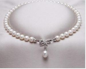 """Freies Verschiffen reales feines 9-10 Millimeter Südsee-runde weiße Perlenhalskette 18 """"Silber"""