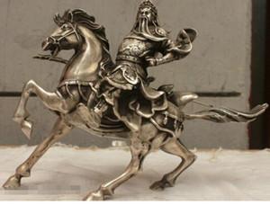 WBY envío gratis China China Folk Culture HandMade Old Silver Bronce estatua Guan Gong Escultura