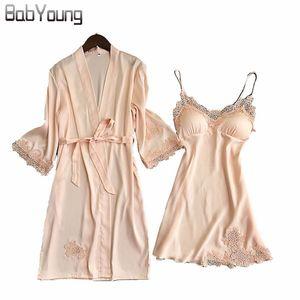 BabYoung 2018 Autumn Women Silk Bathrobe Pajamas Sexy Long Sleeve Robes Set Camisole Lace Night Sleep Dress Skirt Home Wear Pink