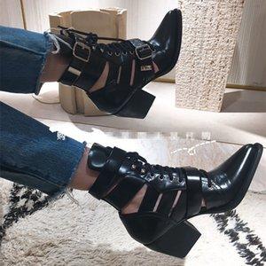 Noir Printemps Été Martin Botte Milieu En Cuir De Veau Bottes Chaussures Femmes De Luxe Toe Toe Talon Carré Bouclés Combat Booties Chaussures