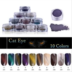 3D Cat Eye Magnet Nail Powder 10 Colores Nail Art Magnet Brillo Pigmento DIY Decoración de Uñas