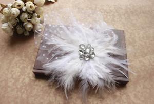 Belle Charme blanc De Mariage Chapeaux Birdcage Face Veil Plume De Fleur De Mariée Fascinator livraison gratuite prix pas cher